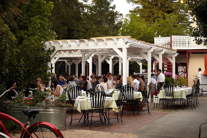The Patio at The Calistoga Inn in Calistoga, in California's Napa Valley wine region