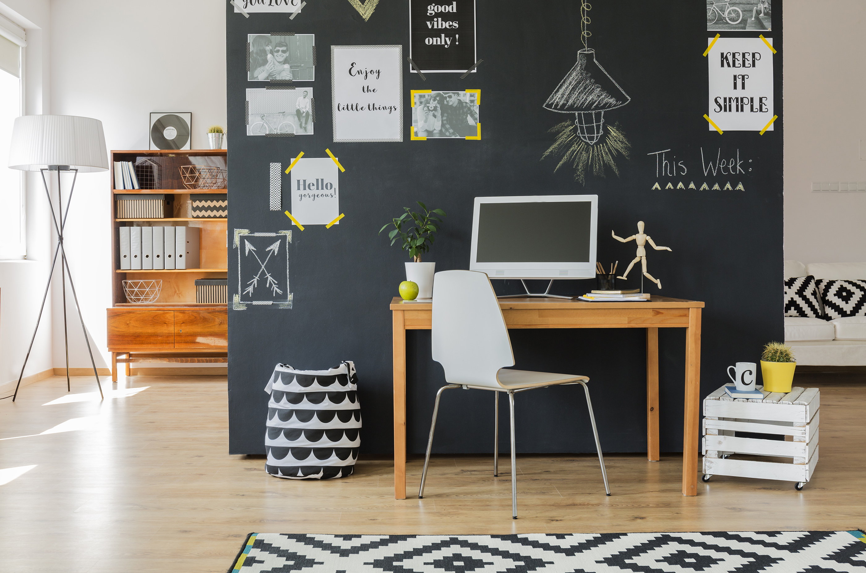 chalkboard paint home office wall