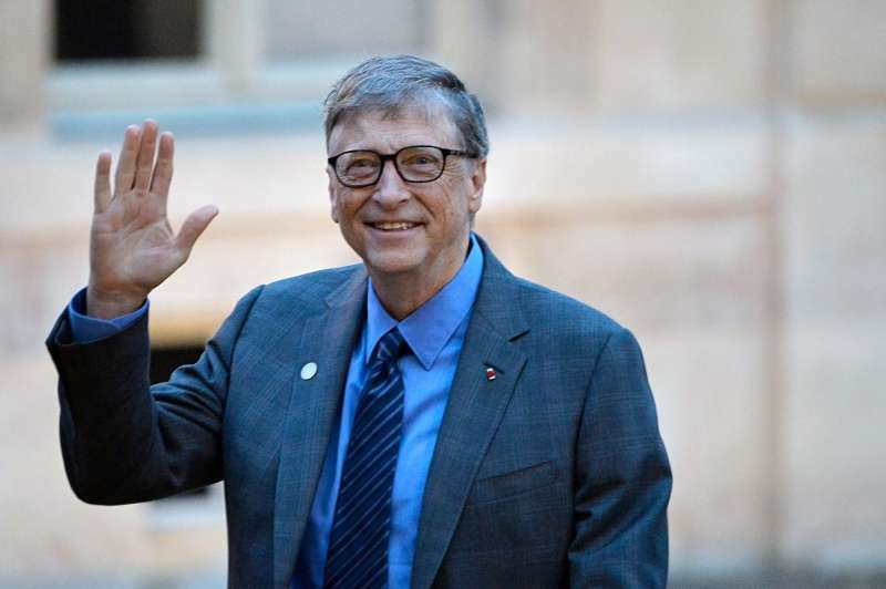 Bill Gates arrives for a meeting with French President Emmanuel Macron on December 12, 2017 in Paris, France.