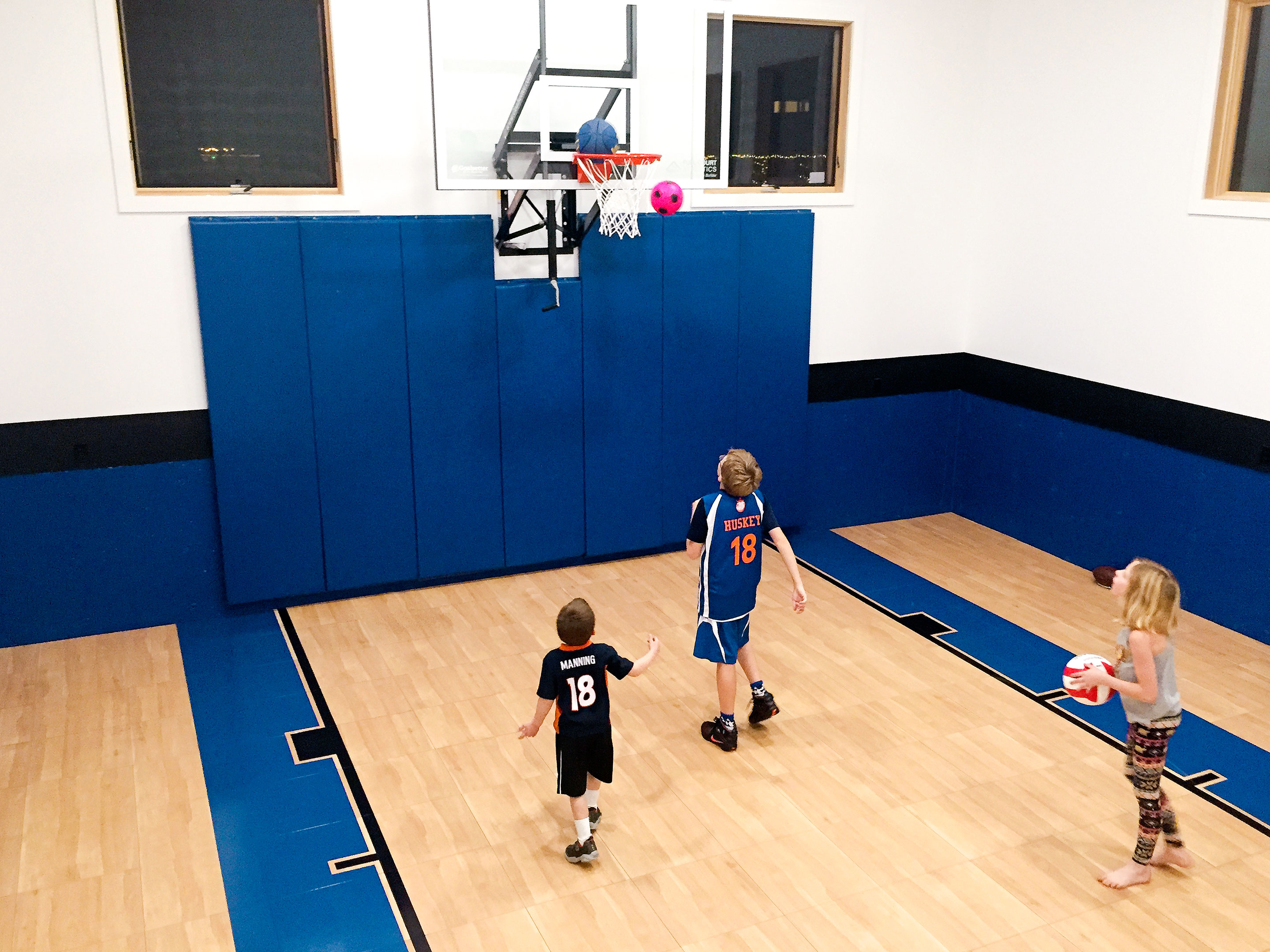Play ball                                                  $5,000+                                                  Forget the driveway. You can practice indoors all winter like an NBA star. To be sure, a full 94-by-50-foot indoor court can run upwards of $50,000, and that's assuming you have the space. But those are the exceptions not the rule for private homes, according to SnapSports, an athletic flooring company based in Salt Lake City, which installs about 1,000 play spaces a year. A 30-by-30-foot practice area with synthetic flooring, painted key and foul lines, and a hoop costs as little as $5,000, or about $5.50 per square foot. Bumping up your budget to $10,000 gets you a 30-by-50-foot half court with wall pads and a logo. The company says it has installed courts of all sizes in basements, barns, and unused guesthouses. While 16-foot-high ceilings are ideal, salesman Jimmy Wood says SnapSports has worked with ceilings as low as 10 feet.