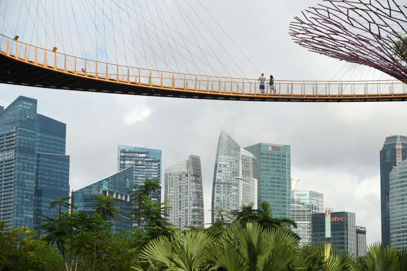 A couple enjoys the view of the skyline from the aerial walkway of the Garden by the Bay's Supertree Grove in Singapore