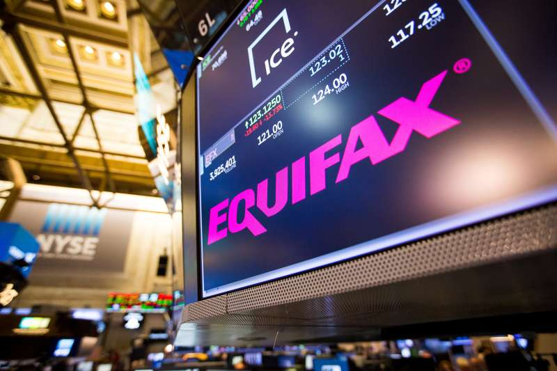 Equifax Inc. signage on the floor of the New York Stock Exchange