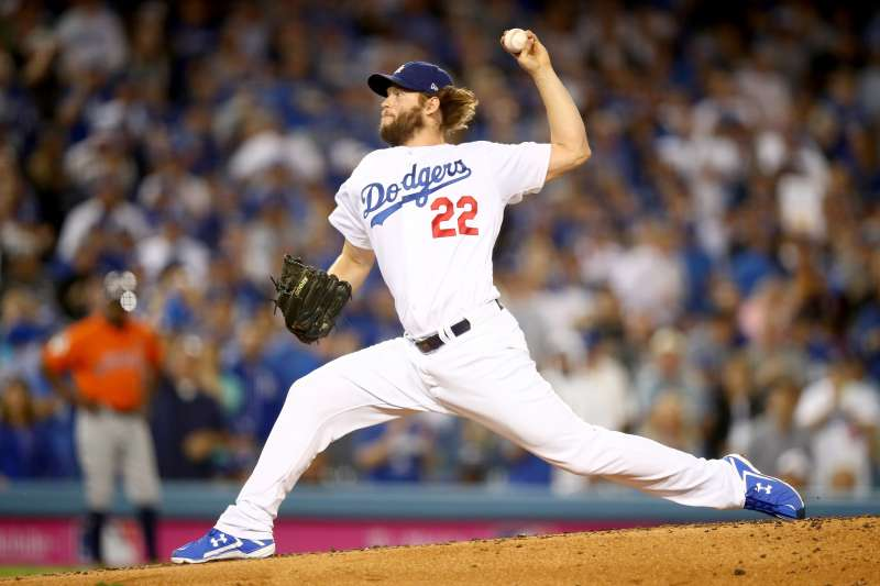 Clayton Kershaw #22 of the Los Angeles Dodgers, game seven of the 2017 World Series. Kershaw is expected to be the Dodgers starting pitcher on opening day in 2018.