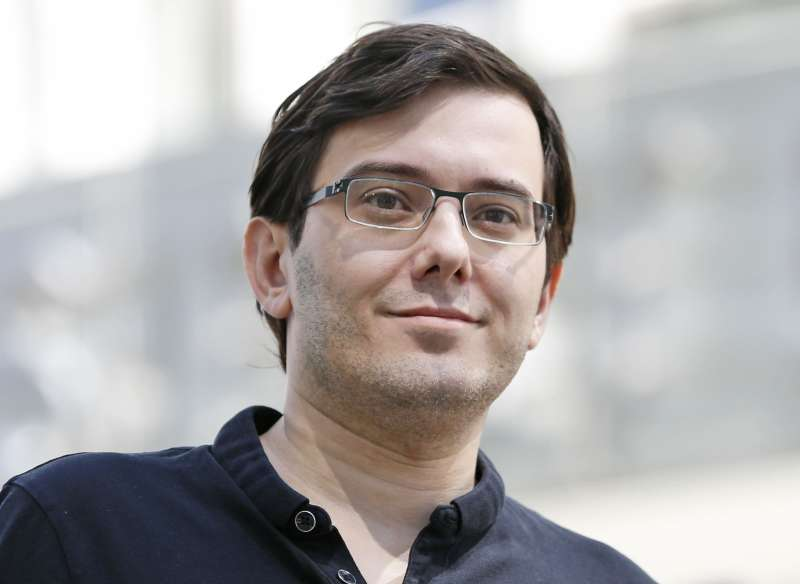 Martin Shkreli talks with reporters after leaving federal court in New York.