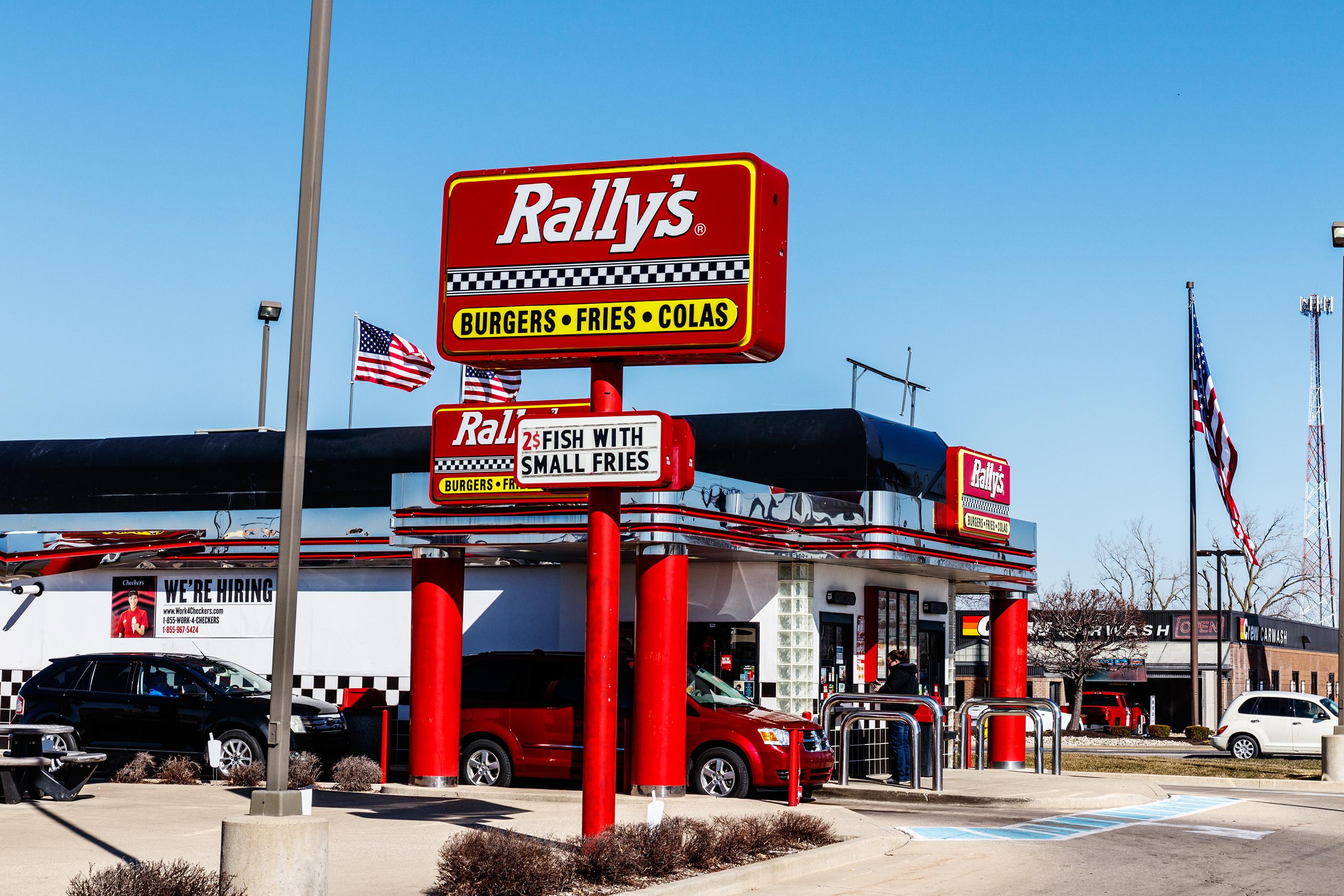 Local Rally's Drive Thru fast food restaurant, Kokomo, March 2018.