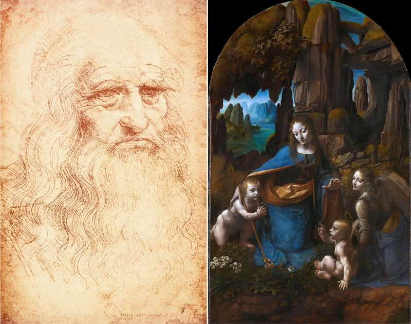 (left) Leonardo da Vinci self-portrait ca. 1515, Biblioteca Reale, Torino, Italy; (right) The Virgin of the Rocks, an elaborate sculpted altar was commissioned by the Milanese Confraternity of the Immaculate Conception for their oratory in San Francesco in 1480.