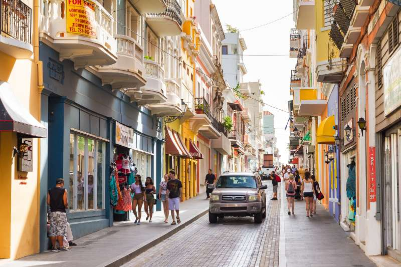 People shopping in the main street in San Juan, Puerto Rico.