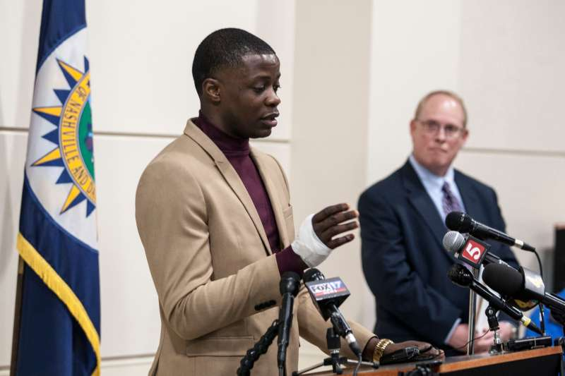 James Shaw Jr., hailed as a hero after he wrestled an assault rifle away from gunman at a Waffle House Restaurant, speaks during a press conference in Nashville, Tennessee, April 22, 2018. Shaw said that he was simply trying to save himself and it worked out well for others. The gunman killed four and injured several others. He escaped and remains on the loose.