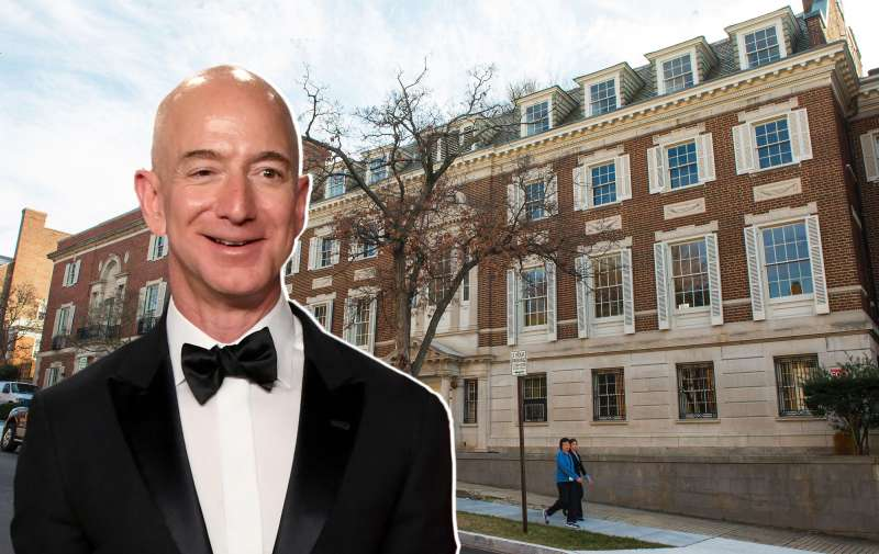 Washington Post and Amazon owner Jeff Bezos has reportedly purchased these two connected buildings that were formerly the Textile Museum seen on January 13, 2017 in Washington, DC.              Amazon founder Jeff Bezos will have a place to hang his hat in the US capital, with the purchase of what may be the city's largest private residence, for $23 million. The Bezos-owned Washington Post reported January 12, 2017 that the tech billionaire was behind the anonymous purchase of the former Textile Museum, a structure of 27,000 square feet (2,500 square meters) with a 7,000 square foot formal garden.