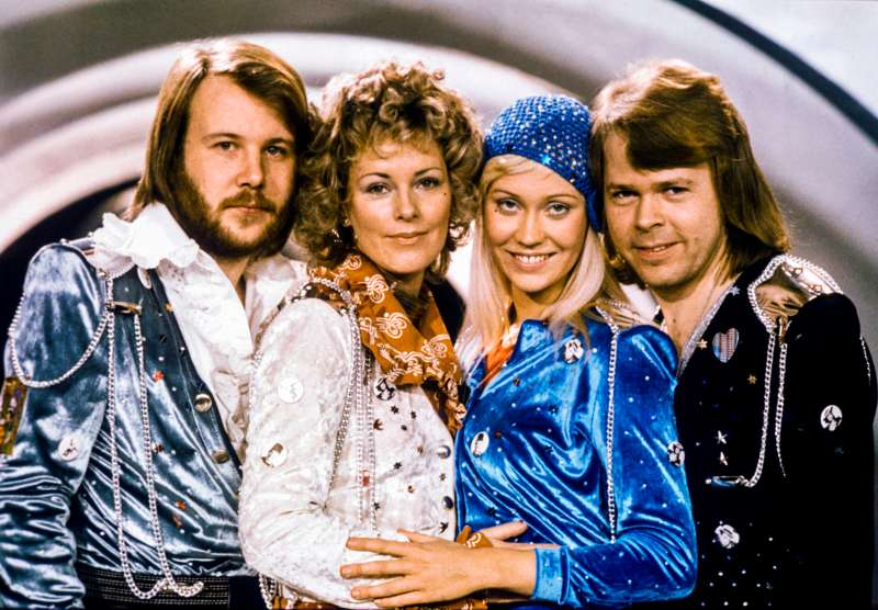 Picture taken in 1974 in Stockholm shows the Swedish pop group Abba with its members (L-R) Benny Andersson, Anni-Frid Lyngstad, Agnetha Faltskog and Bjorn Ulvaeus posing after winning the Swedish branch of the Eurovision Song Contest with their song  Waterloo . Sweden's legendary disco group ABBA announced on April 27, 2018 that they have reunited to record two new songs, 35 years after their last single. The quartet split up in 1982 after dominating the disco scene for more than a decade with hits like  Waterloo ,  Dancing Queen ,  Mamma Mia  and  Super Trouper .
