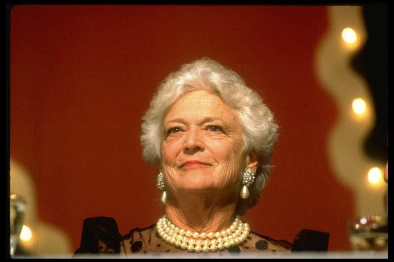 Barbara Bush, looking elegant in her signature pearls, during President's dinner.
