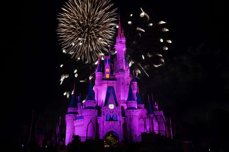 Fireworks explode over the Cinderella Castle at The Magic Kingdom, part of Disney World on January 20, 2017 in Orlando, Florida, US.