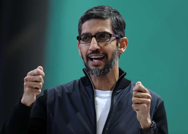 Google CEO Sundar Pichai delivers the keynote address at the Google I/O 2017 Conference