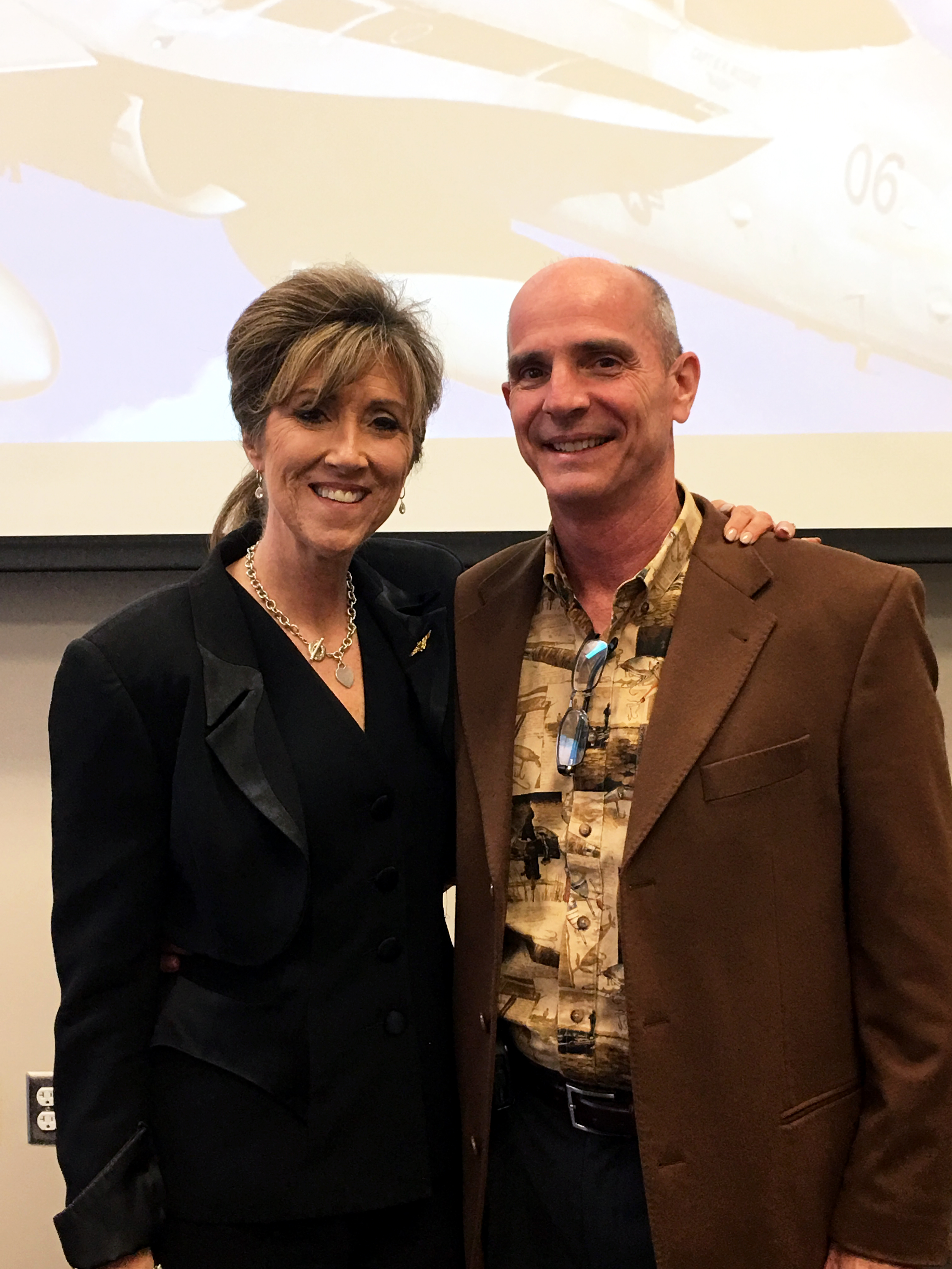 Tammie Jo Shults and her husband Dean Shults pose after she spoke at an event at MidAmerica Nazarene University in March 2017.