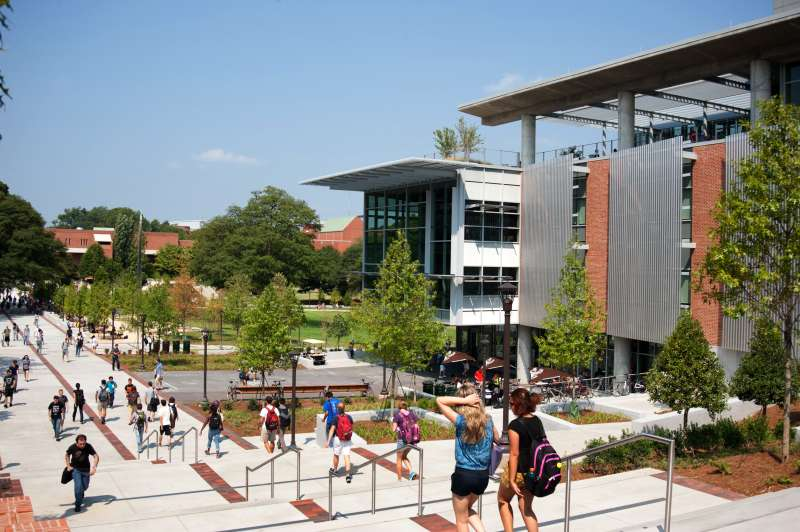 Clough Undergraduate Learning Commons Building and Tech Walk