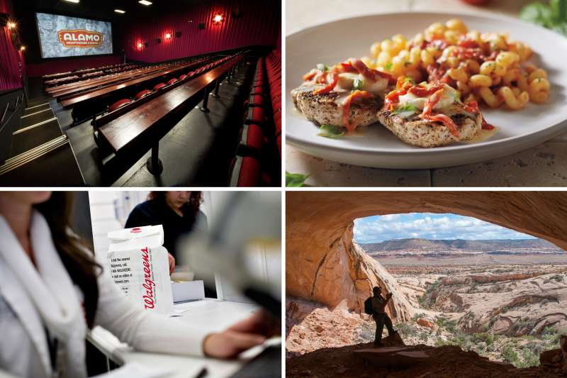 (clockwise from top left) Alamo Drafthouse South Lamar; Chicken Bryan, Carrabba's Italian Grill; Fishmouth Cave, Comb Ridge in Butler Wash, Bears Ears National Monument, Utah; Walgreen's