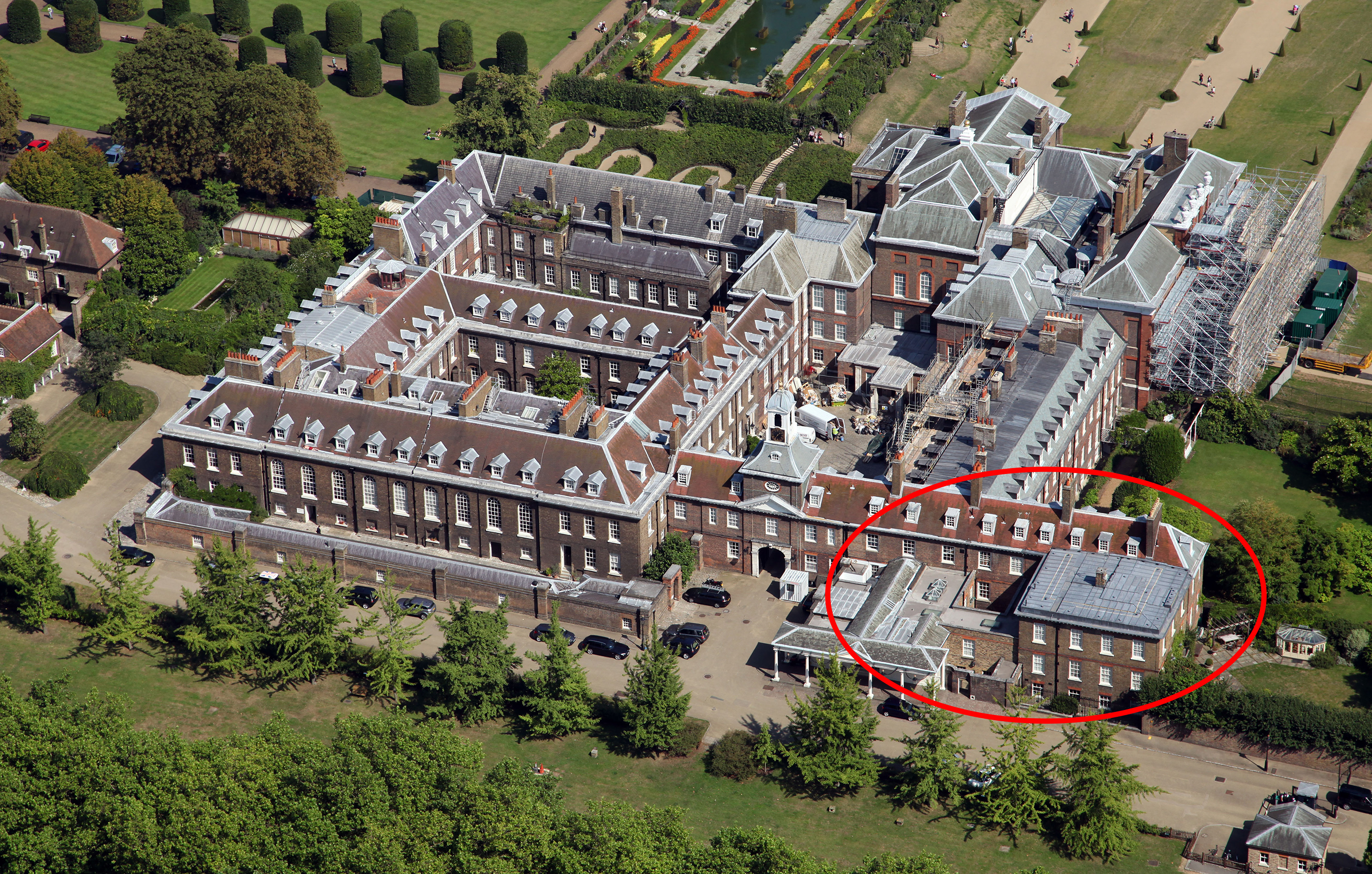 aerial view of Kensington Palace in London, home of Prince William and Kate Middleton the Duchess of Cambridge