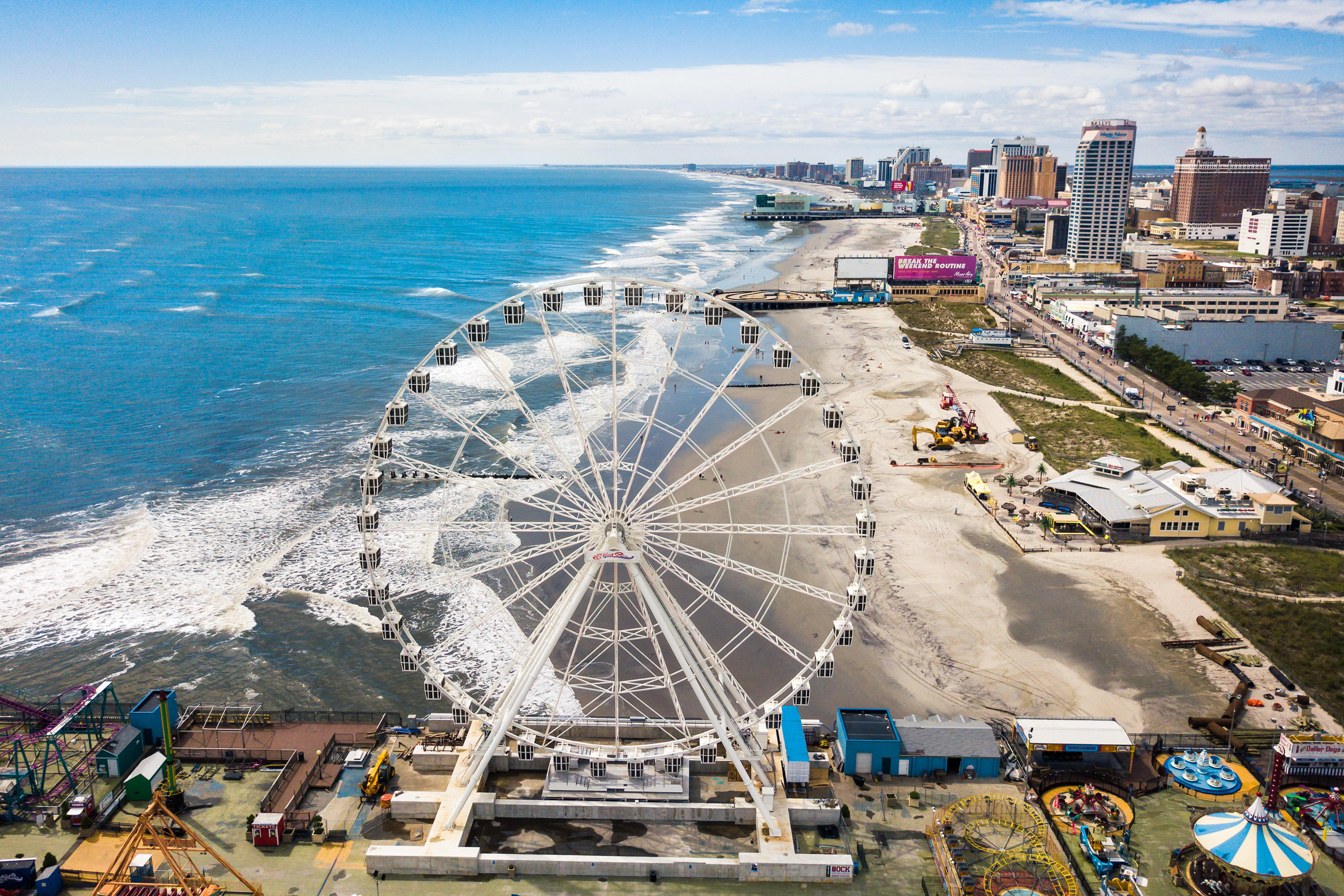ATLANTIC CITY, USA - SEPTEMBER 20, 2017: Atlantic city waterline aerial view. AC is a tourist city in New Jersey famous for its casinos, boardwalks, a