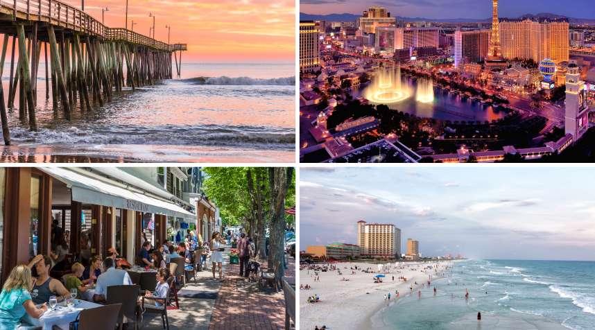 (clockwise from top left) Virginia Beach, Las Vegas, Pensacola, Southampton