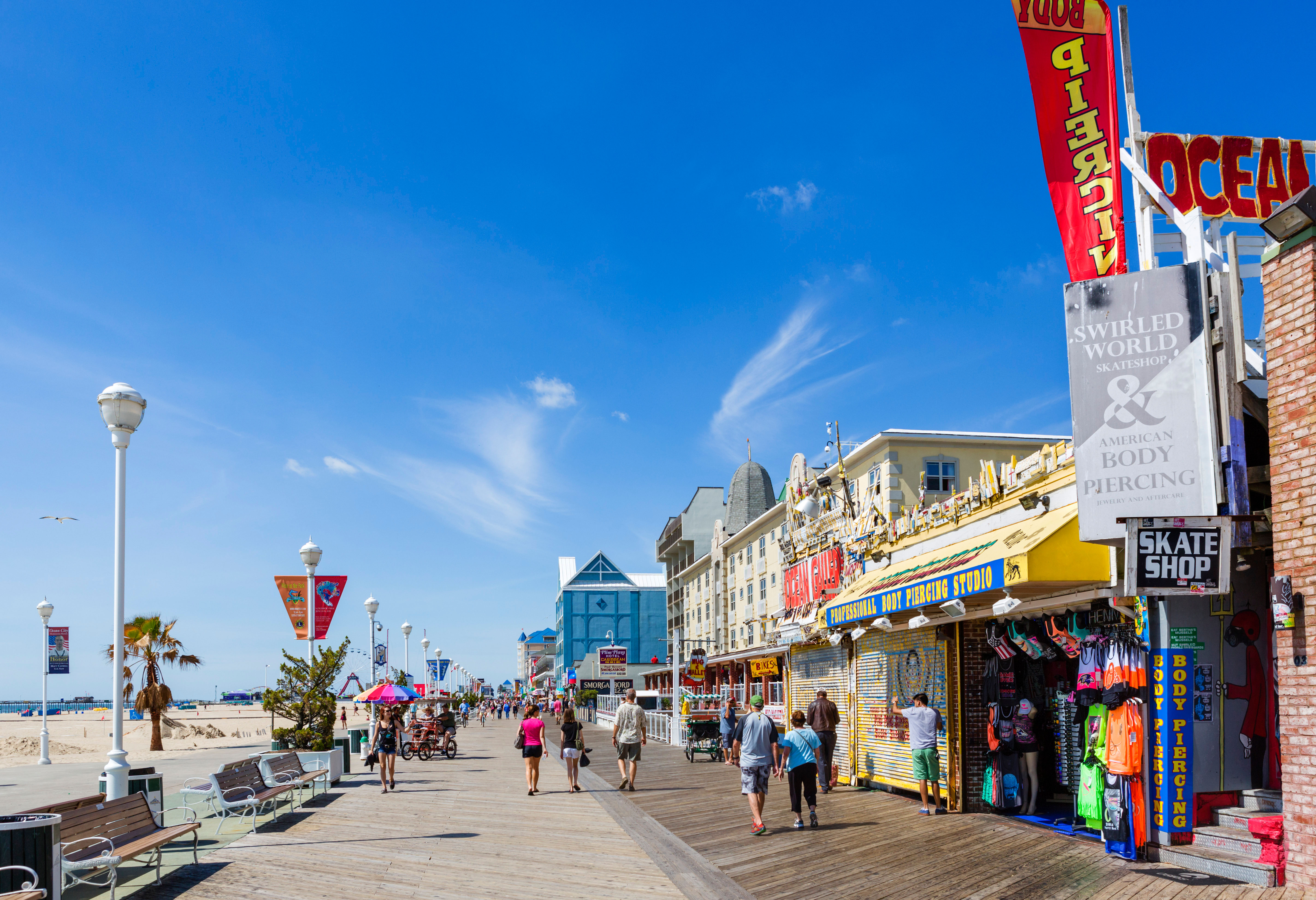 The boardwalk at Ocean City, Worcester County, Maryland, USA