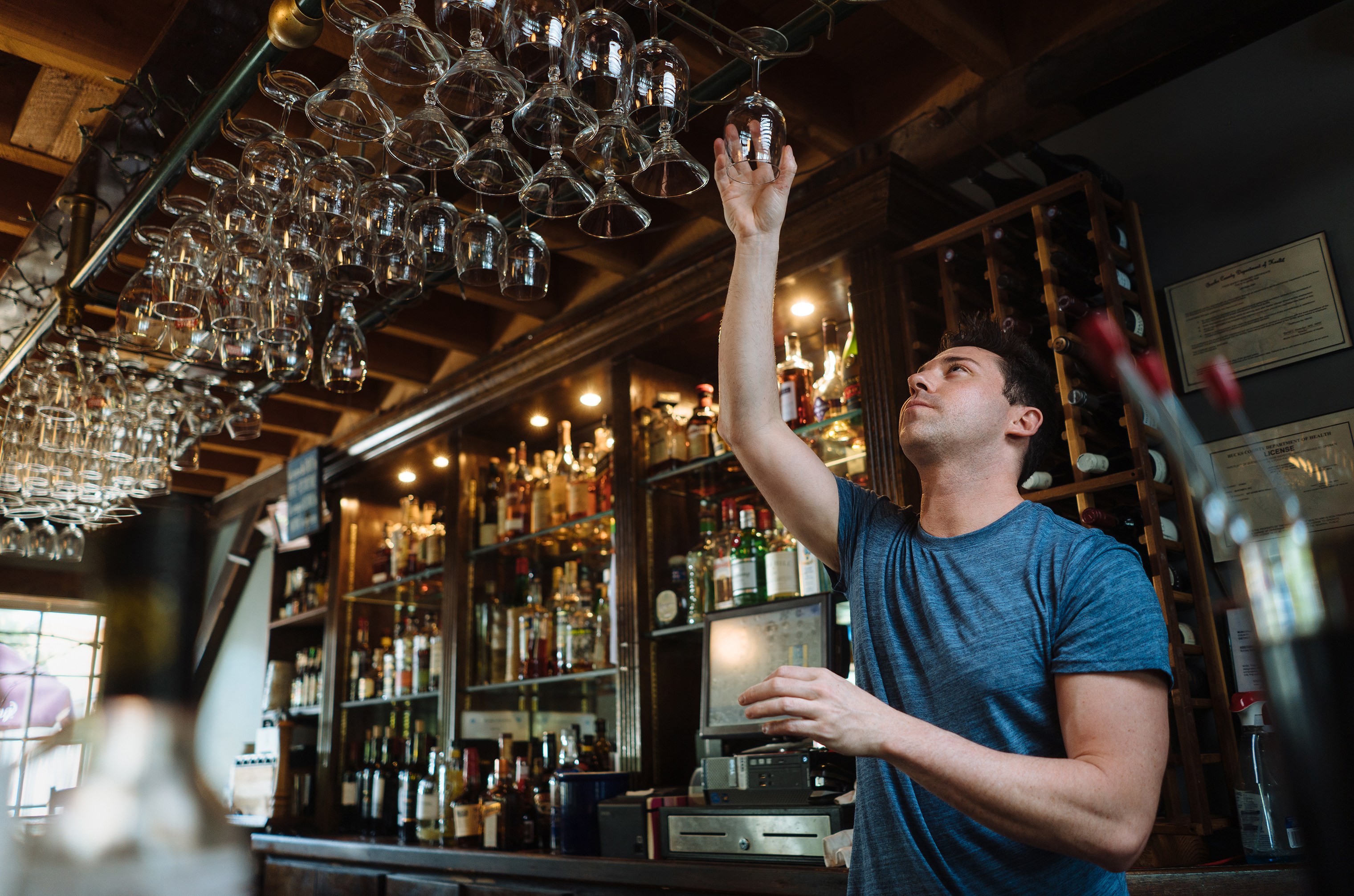 Bryan Steinberg bartending at Martine's RiverHouse Restaurant, New Hope, Pennsylvania, May 15, 2018.