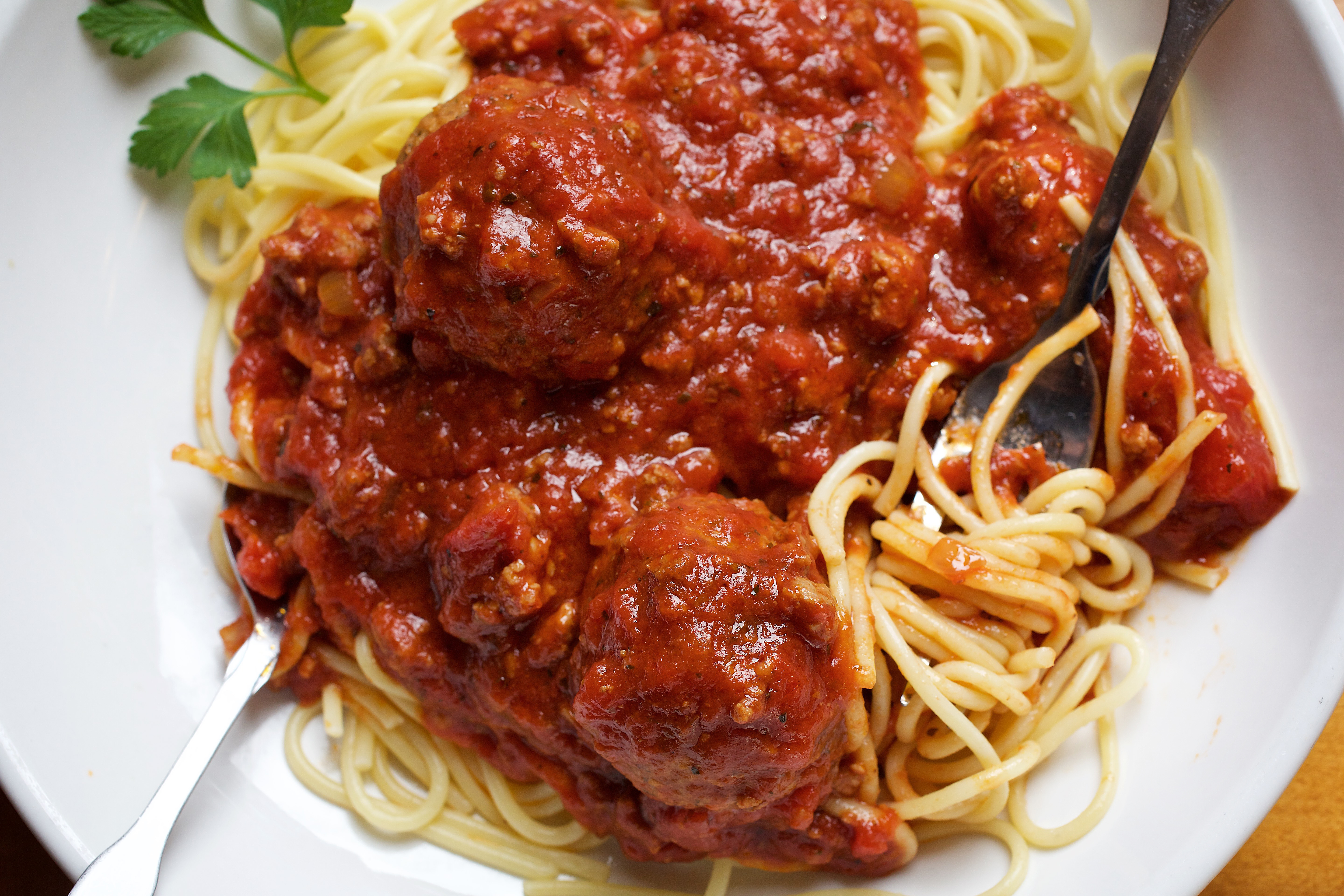 Create your own pasta--Spaghetti, Traditional Meat Sauce and Meatballs at Olive Garden photographed in Hyattsville, MD.