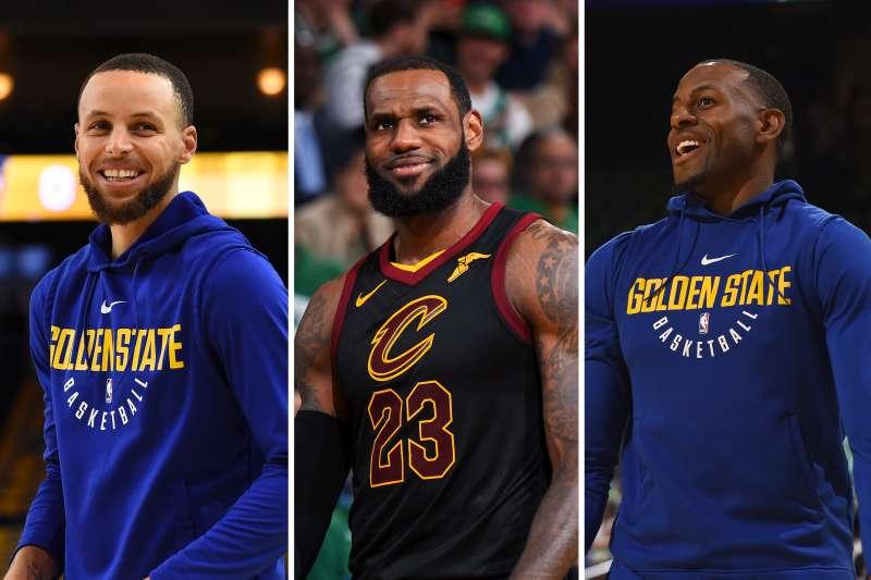 (left to right) Stephen Curry, LeBron James, Andre Iguodala