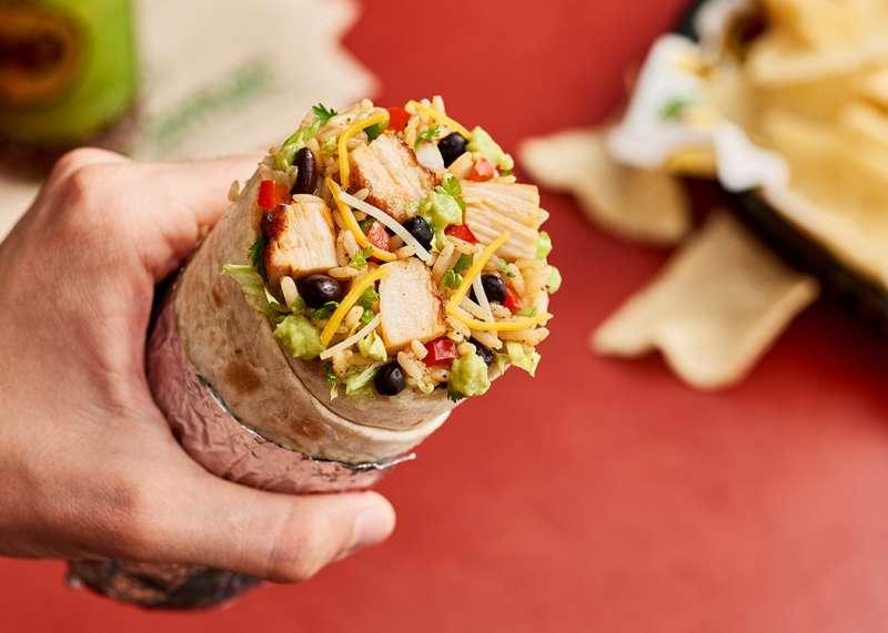 A close-up of Moe's Homewrecker burrito.