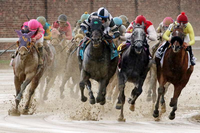 The field exits the fourth turn during the Churchill Downs Stakes on Kentucky Derby Day at Churchill Downs on May 6, 2017 in Louisville, Kentucky. Limousine Liberal #9, ridden by Jose Ortiz (black and white cap), won the race.