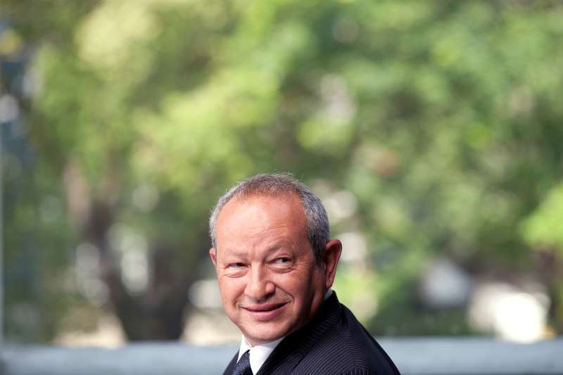 Egyptian billionaire Naguib Sawiris, reacts during a Bloomberg Television interview in London, U.K., on Thursday, May 24, 2012. Sawiris said heÕd be willing to sell his Telekom Austria AG  stake to Carlos SlimÕs America Movil  SAB if the Austrian government is uncooperative.