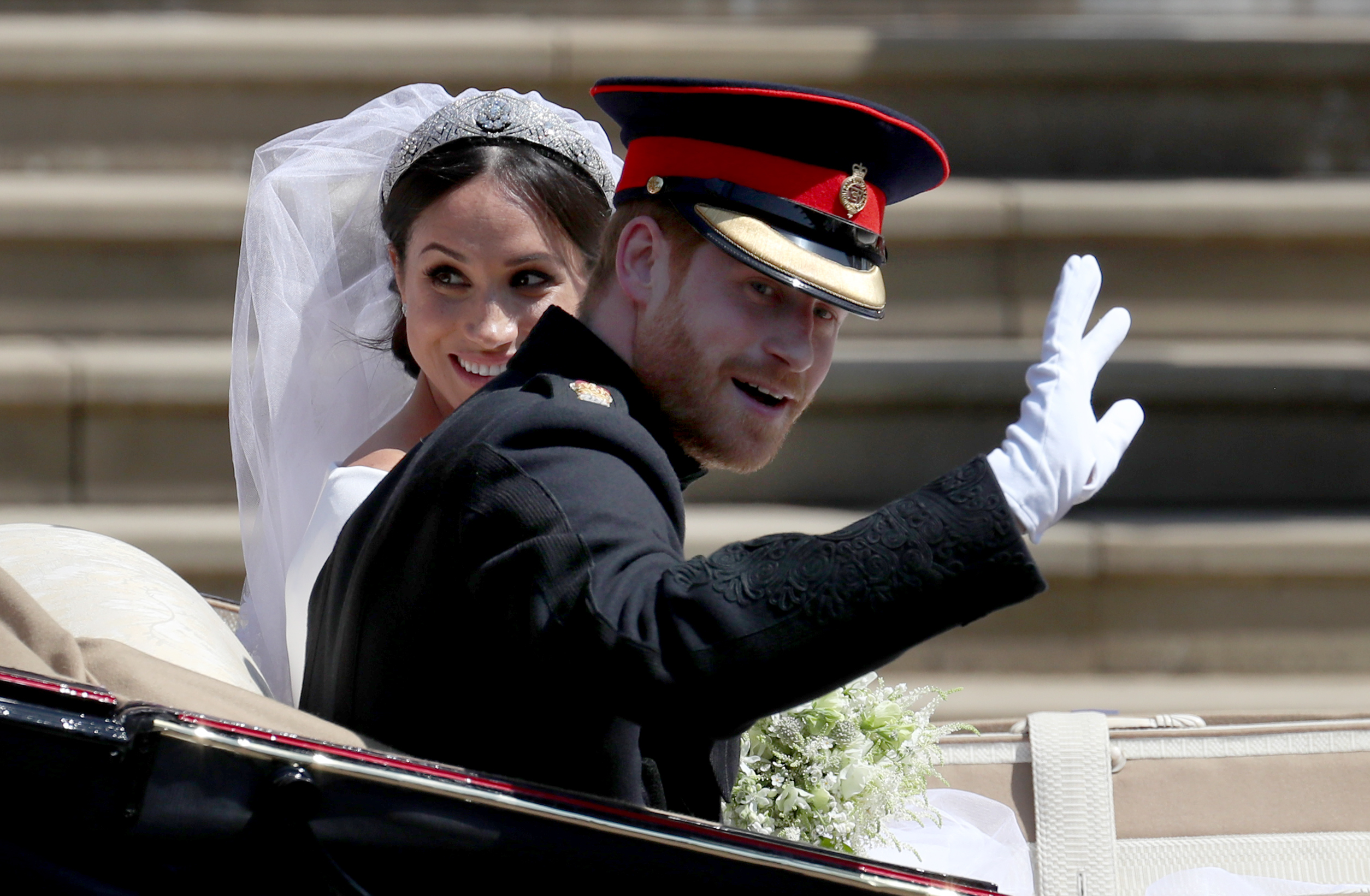 Royal wedding prince harry and meghan markle in carriage