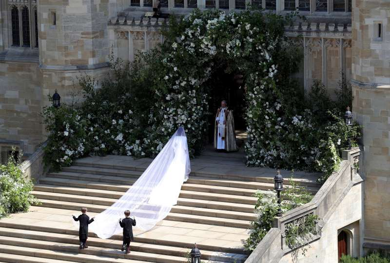 Meghan Markle arrives at St George's Chapel at Windsor Castle for her wedding to Prince Harry, May 19, 2018.  Saturday May 19, 2018.