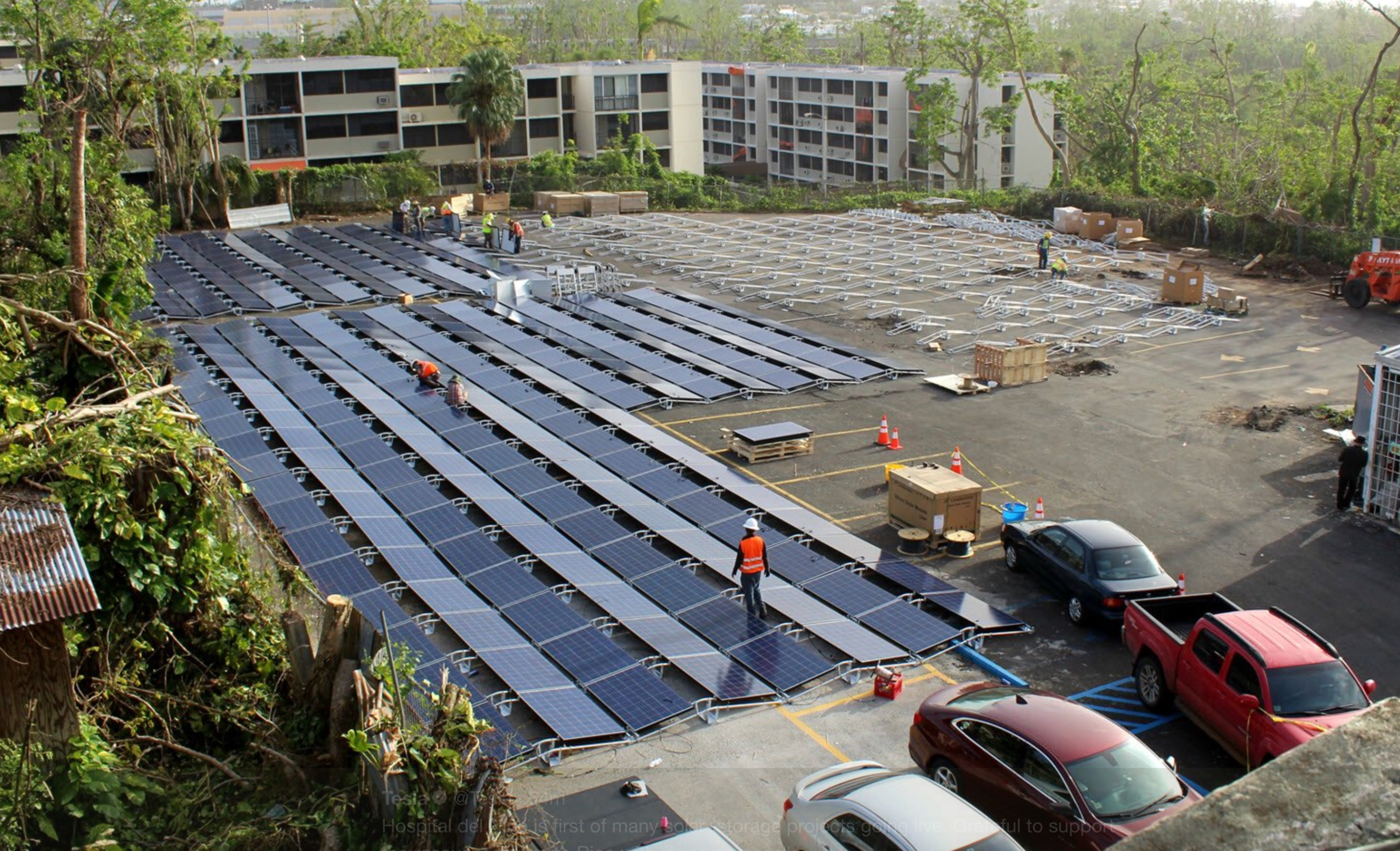 Solar panels set up by Tesla, are seen at the San Juan Children's Hospital, after the island was hit by Hurricane Maria in September, in San Juan, Puerto Rico, 2017.