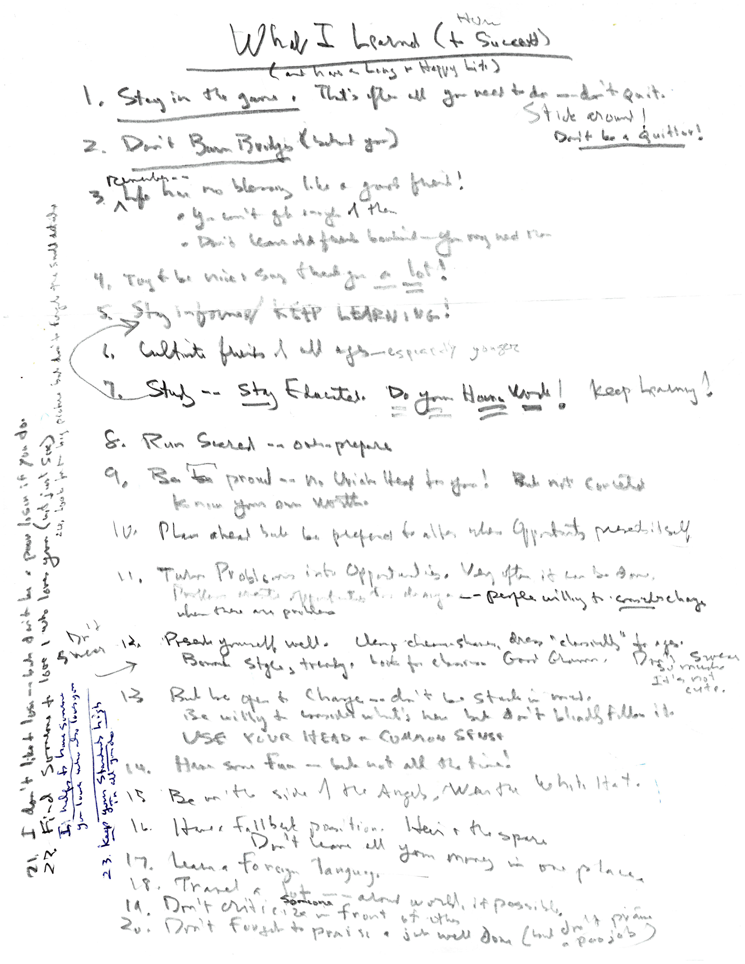 Richard Jenrette's handwritten note titled 'What I Learned (How to Succeed)'