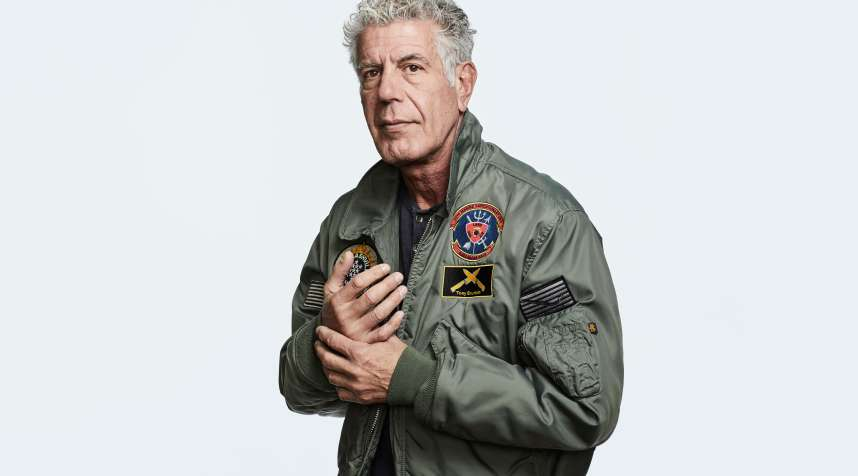 Anthony Bourdain posed for a Money Magazine cover shoot on January 18, 2018 wearing a bomber jacket he was gifted by the Marines who rescued him in Beirut in 2006.