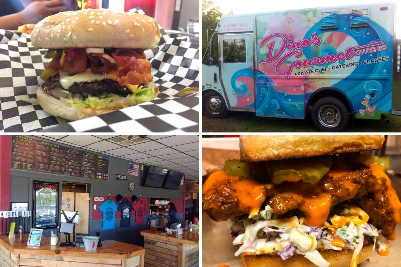 (clockwise from top left) Lucky's Burgers & Shakes; Dino's Gourmet On-The-Go; PDX Sliders; Bros. Sandwich Shack