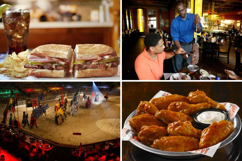 (clockwise from top left) Potbelly Sandwich Shop, Texas de Brazil, Hooters, Medieval Times