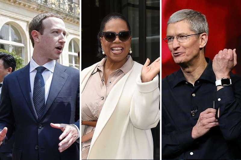 (left to right) Mark Zuckerberg, Oprah Winfrey, Tim Cook