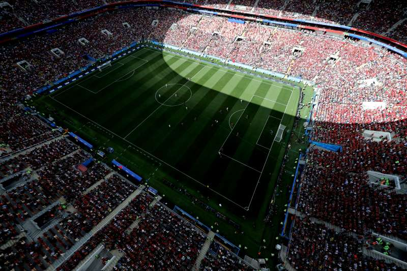 An aerial view of the 2018 FIFA World Cup match between Portugal and Morocco at Luzhniki Stadium on June 20, 2018 in Moscow, Russia.