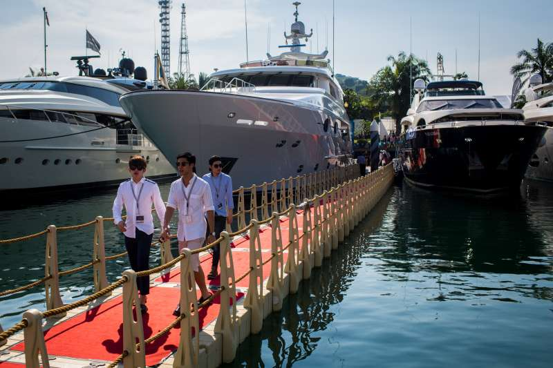 Luxury yachts at the Singapore Yacht Show