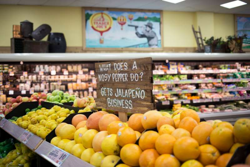 Buffalo, NY - JULY 10, 2015 - Grocery chain, Trader Joe's, is instantly recognizable once inside. Quirky and witty signs are spread throughout the store, enticing customers, in Buffalo, NY. JULY 10, 2015. Melissa Renwick/Toronto Star        (Melissa Renwick/Toronto Star via Getty Images)