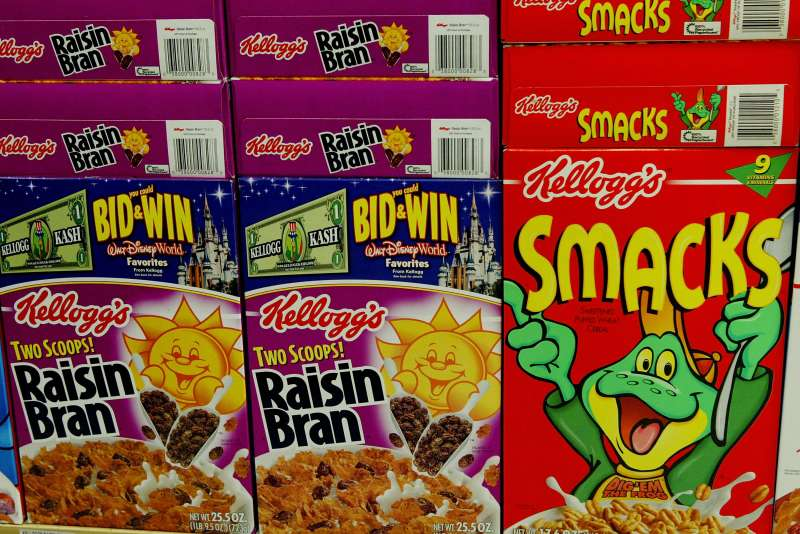 Boxes of Kellogs brand cereal are seen on the shelf at a grocery store January 19, 2004 in San Francisco.