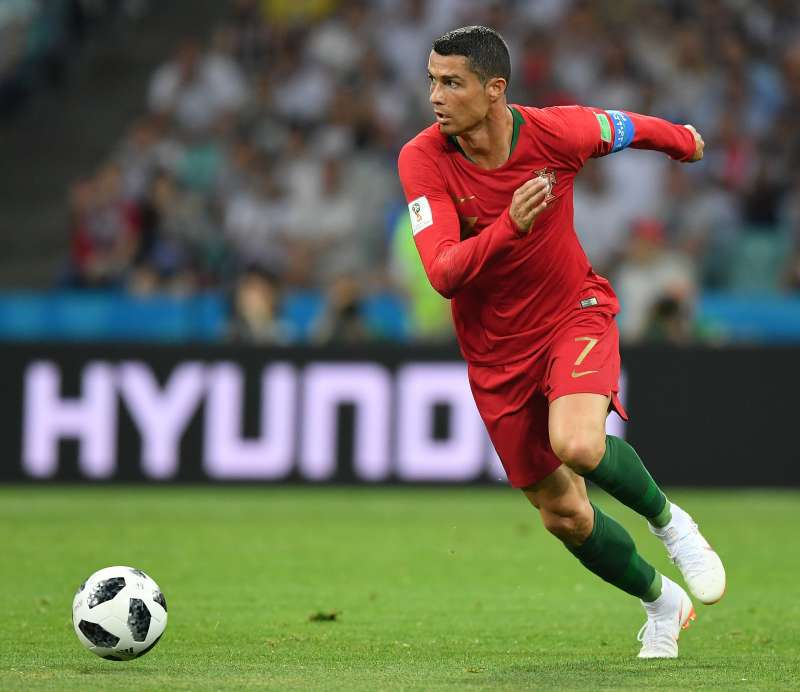SOCHI, RUSSIA - JUNE 15:  Cristiano Ronaldo of Portugal in action during the 2018 FIFA World Cup Russia group B match between Portugal and Spain at Fisht Stadium on June 15, 2018 in Sochi, Russia.  (Photo by Stuart Franklin - FIFA/FIFA via Getty Images)