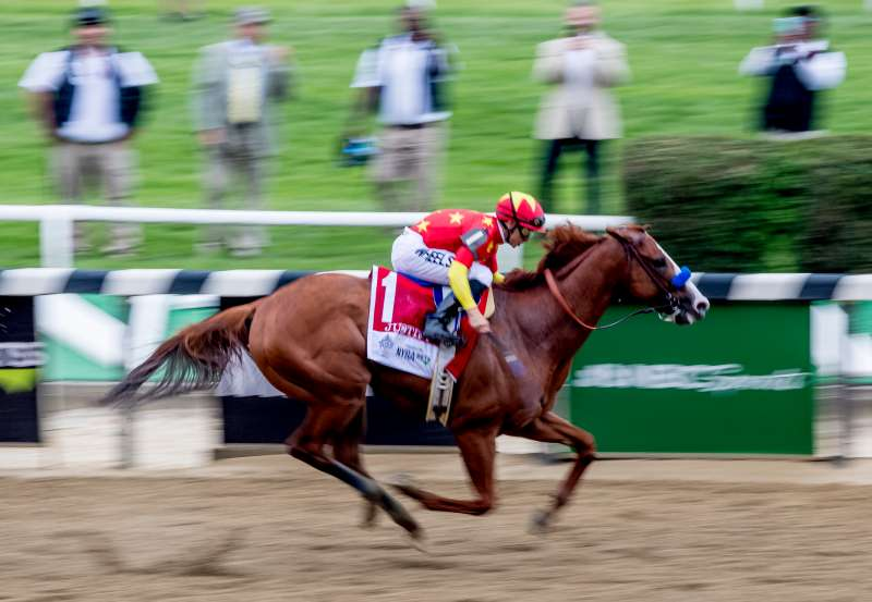 Justify  #1, ridden by Mike Smith, wins the Belmont Stakes on Belmont Stakes  Day at Belmont Park on June 9, 2018 in Elmont, New York