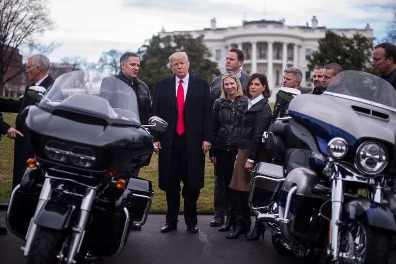 President Donald Trump met with Harley-Davidson executives and union workers on Feb. 2, 2017.