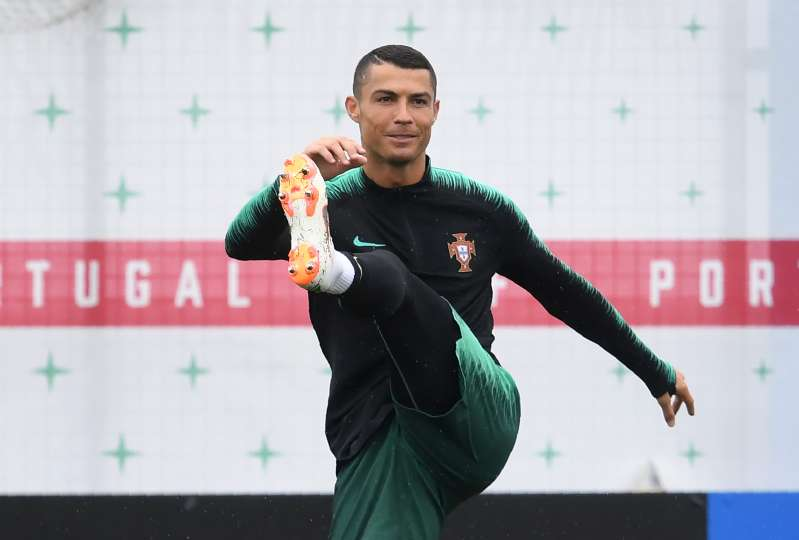 Portugal forward Cristiano Ronaldo warms up during a training session in anticipation of the 2018 World Cup, including an opening round match against Spain.