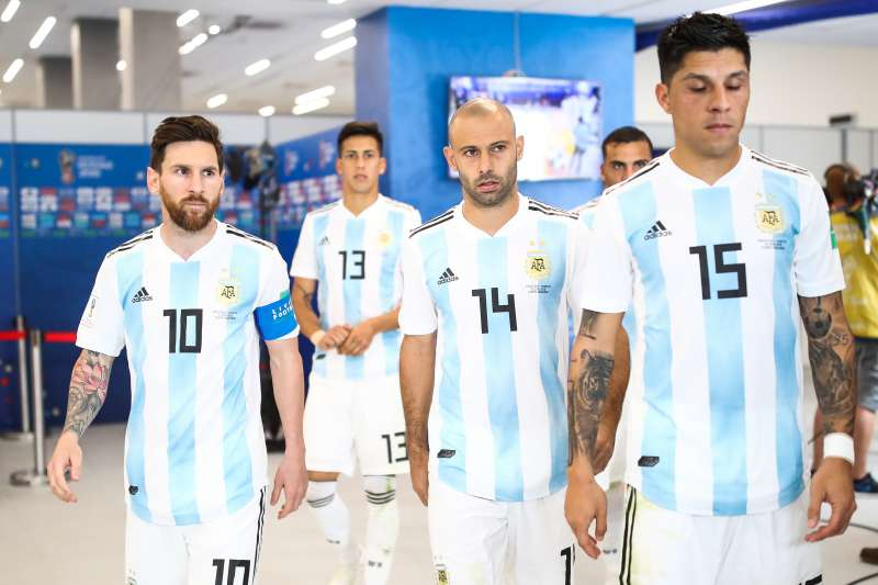 Lionel Messi (far left) and Argentina face Nigeria in the 2018 World Cup on Tuesday, June 26, 2018.