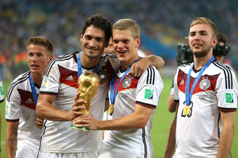 Members of Team Germany celebrate their win in the 2014 World Cup Final in Brazil.