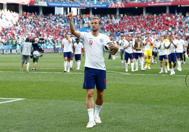 Harry Kane of England celebrates after scoring a hat trick in his team's 6-1 win over Panama in the 2018 World Cup in Russia.