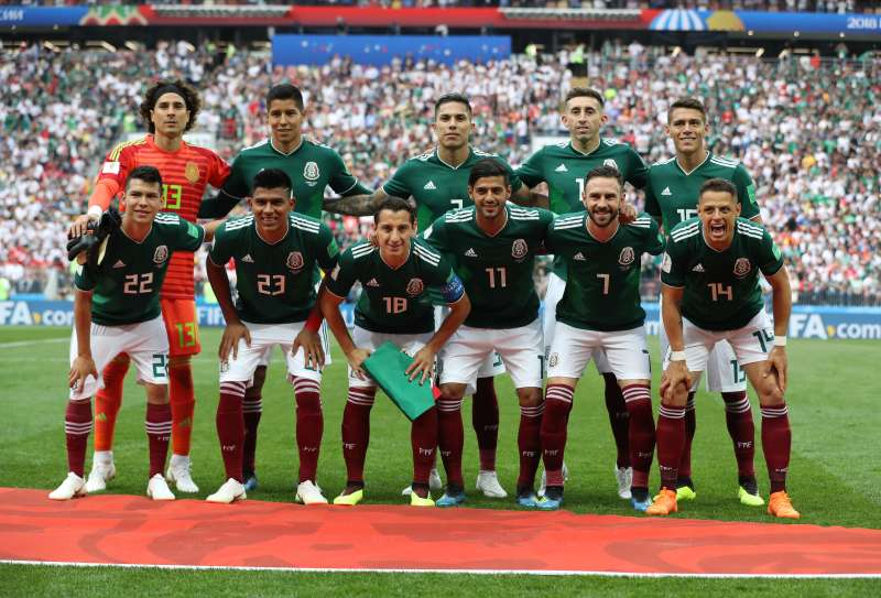 Team Mexico poses before the 2018 FIFA World Cup match versus Germany on June 17, 2018 in Moscow, Russia.